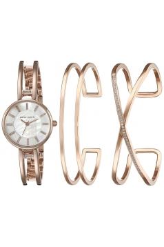 Women's Three Piece Watch And Bracelet Set With Swarovski Crystal Accents