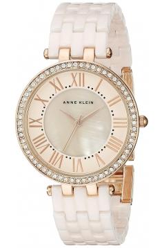Women's Swarovski Crystal Accented Rose Gold Tone And Light Pink Ceramic Bracelet Watch