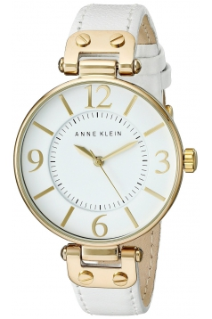 Women's Gold Tone And White Leather Strap Watch