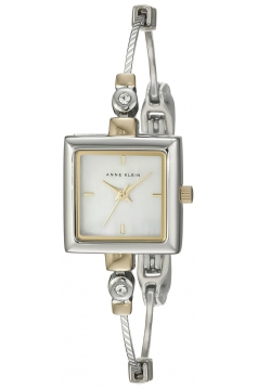 Women's Square Swarovski Crystal Accented Two Tone Illusion Bangle Watch