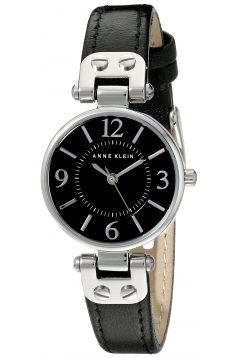 Women's Silver Tone Black Dial And Black Leather Strap Watch