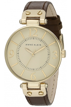 Women's Gold Tone And Brown Leather Strap Watch
