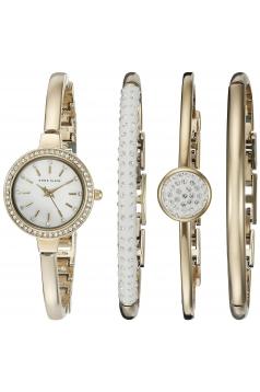 Women's Swarovski Crystal Accented Gold Tone Bangle Watch And Bracelet Set