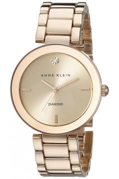 Women's Rose Gold Tone Diamond Accented Bracelet Watch