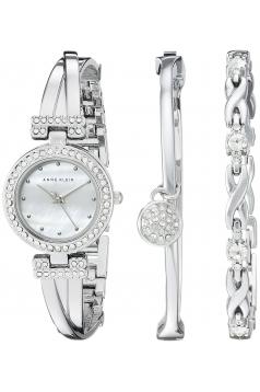 Women's Swarovski Crystal Accented Silver Tone Bangle Watch And Bracelet Set