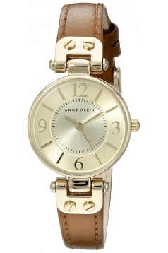 Women's Gold Tone Champagne Dial And Brown Leather Strap Watch