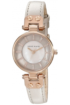 Women's Rose Gold Tone Watch With Taupe Leather Band
