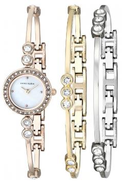 Women's Swarovski Crystal Accented Rose Gold Tone Bangle Watch And Bracelet Set