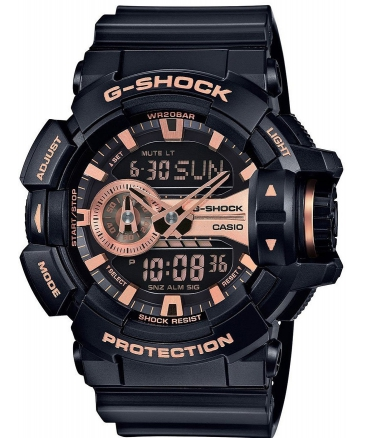 Men's G-Shock Black And Rose Gold Tone Dial Resin Quartz Watch GA400GB-1A4