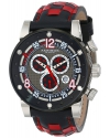 Men's Explorer Swiss Chronograph Stainless Steel Black And Red Checkered Leather Strap Watch
