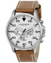 Men's Silver Tone Watch With Brown Leather Band