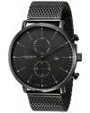 Men's Swiss Quartz Movement Watch With Black Dial And Stainless Steel Bracelet