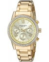 Women's Round Champagne Dial Crystal Accent Three Hand Quartz Gold Tone Bracelet Watch