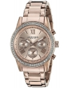 Women's Round Rose Gold Lon Plated Crystal Accent Watch