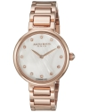 Women's Round White Mother Of Pearl Dial Two Hand Quartz Rose Gold Tone Bracelet Watch