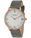 Women's Quartz Rose Tone Case With Swarovski Crystal Accented Bezel And Silver Tone Dial On Grey Genuine Leather St