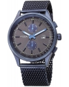 Men's Matte Blue Case With Blue Accented Gray Dial On Blue Stainless Steel Bracelet Watch