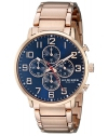 Men's Chronograph Quartz Movement Watch With Blue Dial And Rose Gold Stainless Steel Bracelet