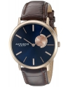 Men's Blue Dial Rose Gold And Brown Leather Strap Watch