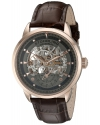 Men's Executive Automatic Self Wind Skeleton Leather Strap Watch