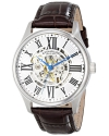 Men's Atrium Automatic Skeleton Brown Leather Band Watch