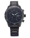 Men's Chronograph Day Date Black Stainless Steel Sport Quartz Watch