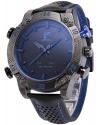 Men's LED Date Day Alarm Digital Analog Quartz Sport Black Leather Band Wrist Watch
