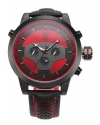 Men's Sport Black And Red Dial Dual Time Zone Analog Watch