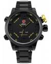 Men's Fashion LED Digital Date Day Sport Black Stainless Steel Quartz Wrist Watch
