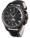 Men's Chronograph Japanese Quartz Black Leather Sport Watch