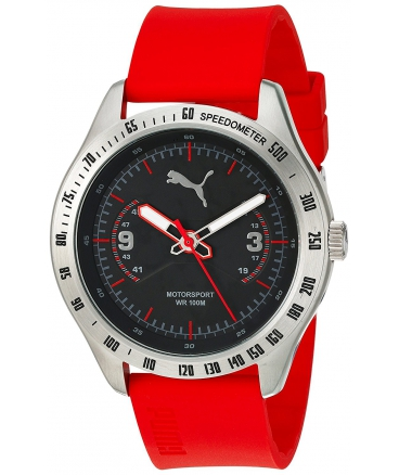 Men's Quartz Stainless Steel And Polyurethane Automatic Watch Color Red