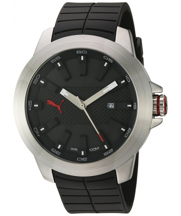 Men's Quartz Stainless Steel And Polyurethane Automatic Watch Color Black