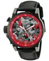 Men's I-Force Quartz Stainless Steel And Black Leather Casual Watch