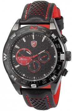 Men's Fashion Black Leather Steel Case Army Sport Quartz Wrist Watch