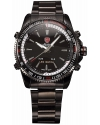 Men's LED Date Day Analog Sport Black Stainless Steel Quartz Watch