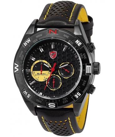 Fashion Black Leather Steel Case Army Sport Quartz Wrist Watch SH081be