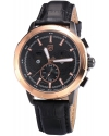 Men's Quartz Gold Case Day Date Display Chronograph Black Dial Leatcher Band Watch