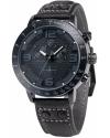 Men's Analog Quartz Chronograph 24 Hours Display Black Leather Band Wrist Watch
