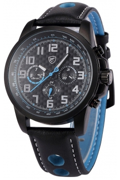 Men's Analog Date Day Sport Quartz Leather Band Wrist Watch