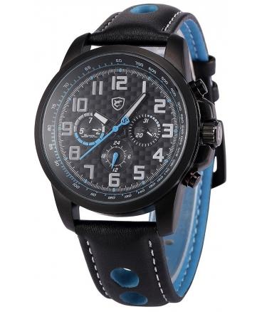 Men's Analog Date Day Sport Quartz Leather Band Wrist Watch SH185be
