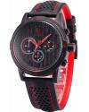 Men's Quartz Leather Band Chronograph Sport Red Watch