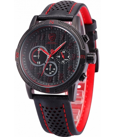 Men's Quartz Leather Band Chronograph Sport Red Watch SH251be