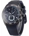 Men's Analog Quartz Chronograph Black Silicone Band Wrist Watch