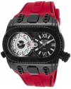 Men's Genesis World Swiss Quartz Stainless Steel And Silicone Casual Watch Color Red