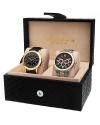 Men's Analog Display Quartz Black Watch Set