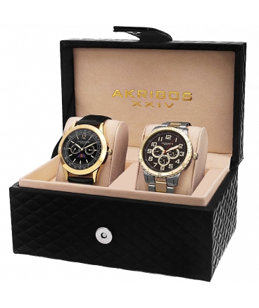 Men's Analog Display Quartz Black Watch Set AK740YG