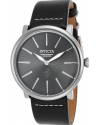 Men's I-Force Quartz Stainless Steel and Leather Casual Watch, Black