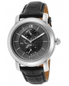 Men's Spiga Quartz Stainless Steel and Black Leather Casual Watch