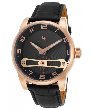 Men's Bosphorus Quartz Stainless Steel and Leather Automatic Watch, Black