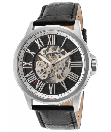 Men's Calypso Automatic Stainless Steel and Black Leather Casual Watch